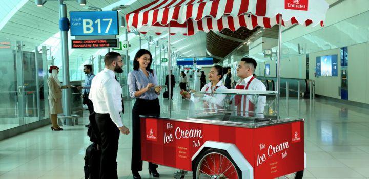 Gratis schepijs voor passagiers Emirates op Dubai Airport